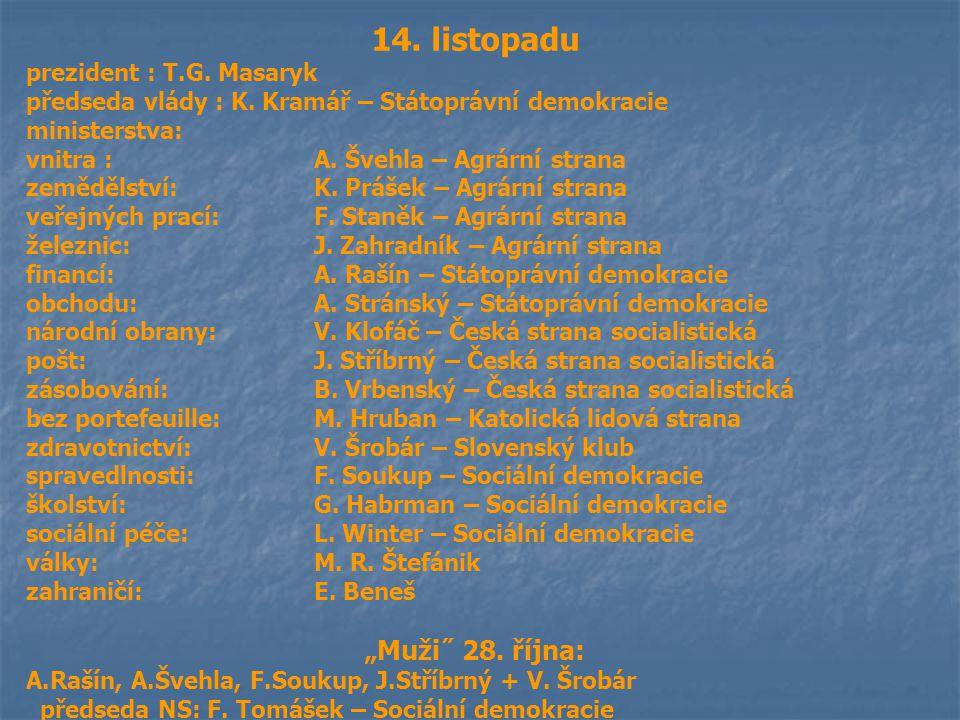 14. listopadu prezident : T.G. Masaryk předseda vlády : K. Kramář – Státoprávní demokracie ministerstva: vnitra : A. Švehla – Agrární strana zemědělst