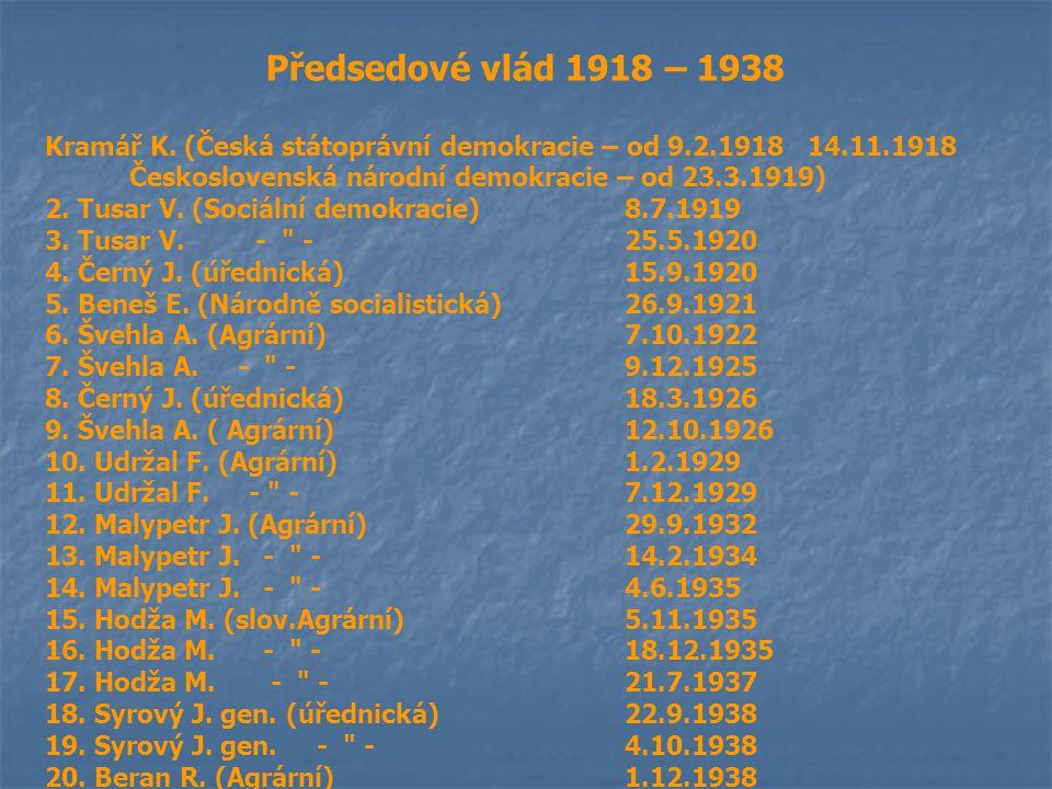 Předsedové vlád 1918 – 1938 Kramář K. (Česká státoprávní demokracie – od 9.2.1918 14.11.1918 Československá národní demokracie – od 23.3.1919) 2. Tusa