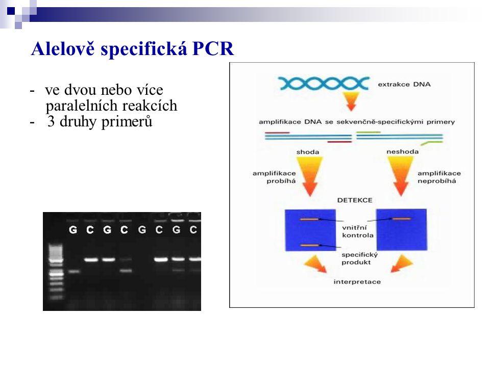 Alelově specifická PCR -ve dvou nebo více paralelních reakcích - 3 druhy primerů