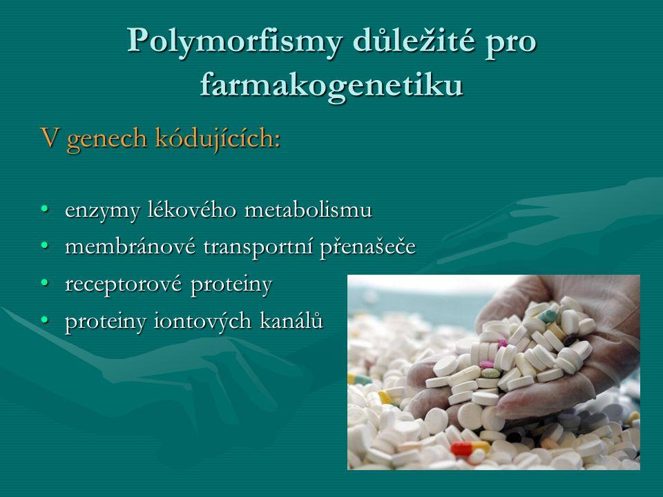 Polymorfismy důležité pro farmakogenetiku V genech kódujících: enzymy lékového metabolismuenzymy lékového metabolismu membránové transportní přenašeče