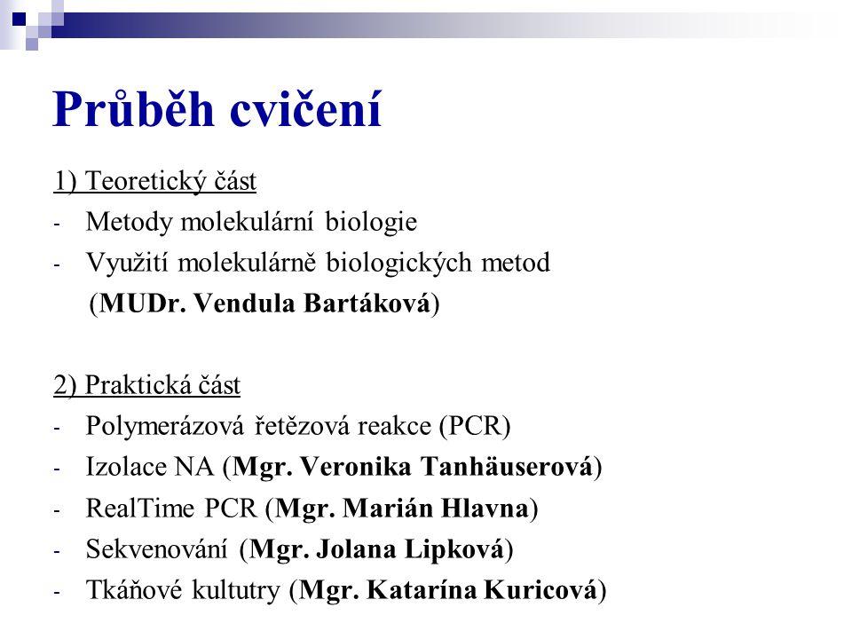Průběh cvičení 1) Teoretický část - Metody molekulární biologie - Využití molekulárně biologických metod (MUDr. Vendula Bartáková) 2) Praktická část -