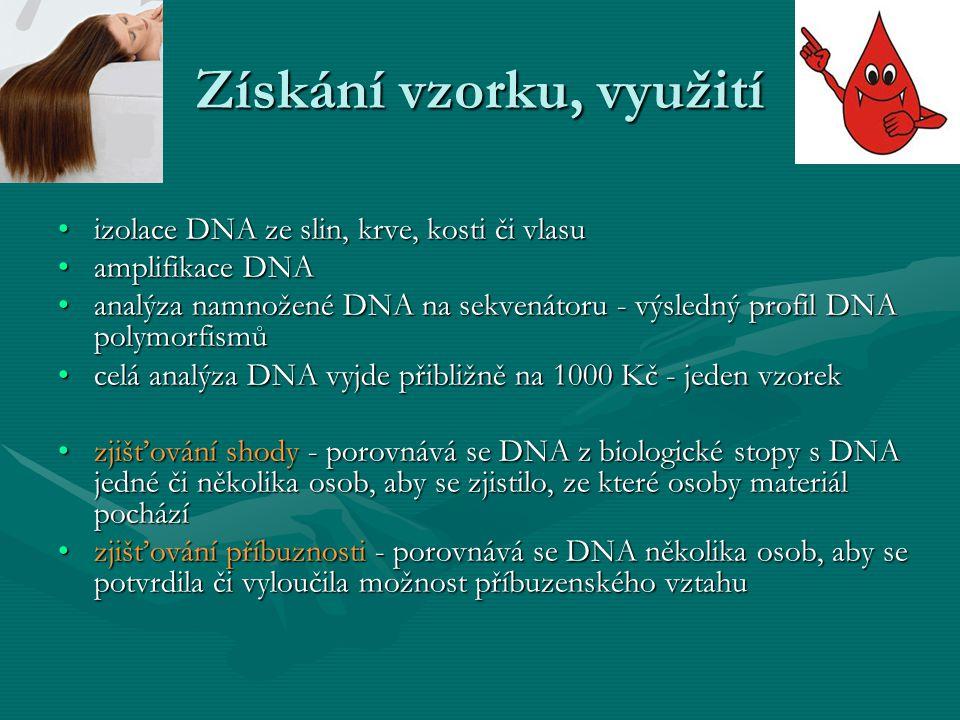 Získání vzorku, využití izolace DNA ze slin, krve, kosti či vlasuizolace DNA ze slin, krve, kosti či vlasu amplifikace DNAamplifikace DNA analýza namn