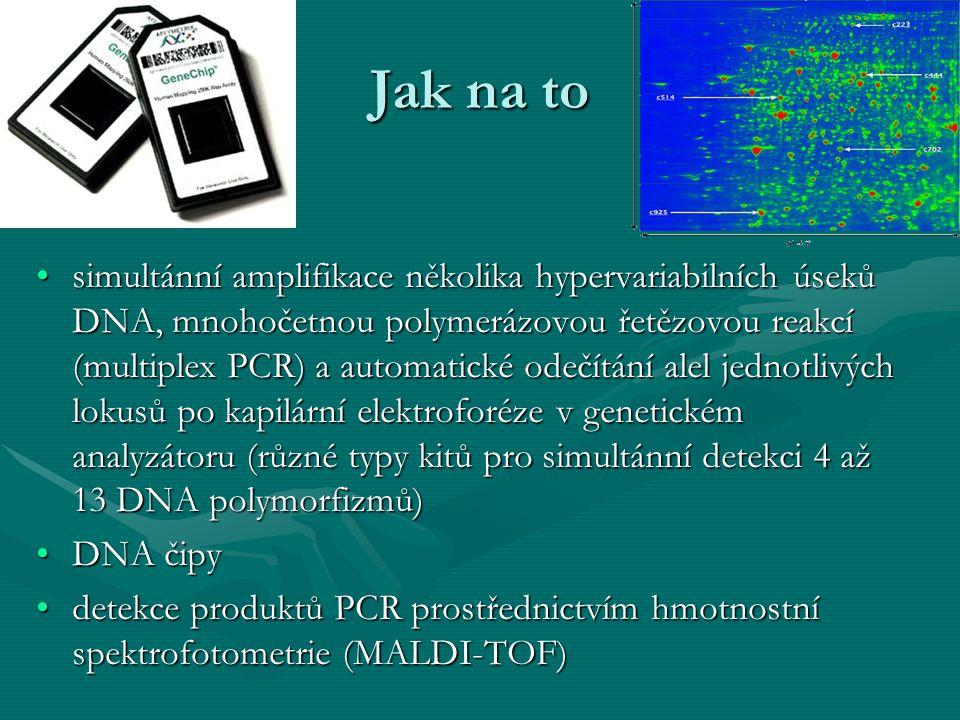 Jak na to simultánní amplifikace několika hypervariabilních úseků DNA, mnohočetnou polymerázovou řetězovou reakcí (multiplex PCR) a automatické odečít