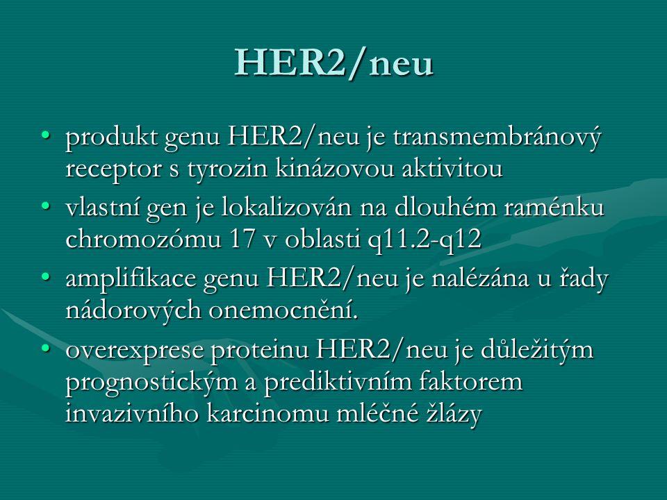 HER2/neu produkt genu HER2/neu je transmembránový receptor s tyrozin kinázovou aktivitouprodukt genu HER2/neu je transmembránový receptor s tyrozin ki