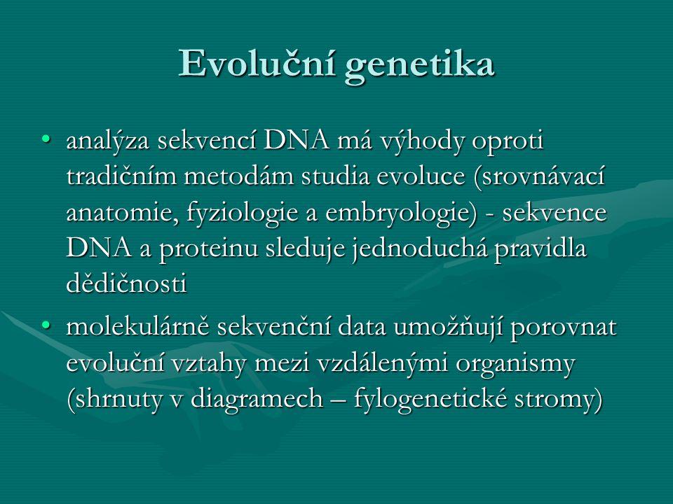 Evoluční genetika analýza sekvencí DNA má výhody oproti tradičním metodám studia evoluce (srovnávací anatomie, fyziologie a embryologie) - sekvence DN