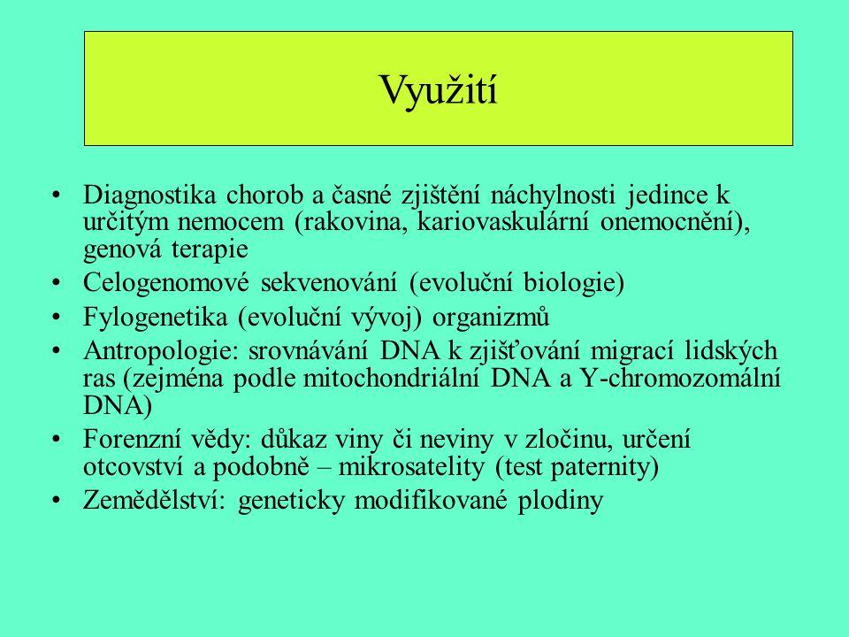 Využití Diagnostika chorob a časné zjištění náchylnosti jedince k určitým nemocem (rakovina, kariovaskulární onemocnění), genová terapie Celogenomové