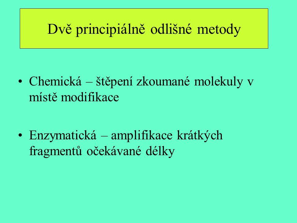 Chemická – štěpení zkoumané molekuly v místě modifikace Enzymatická – amplifikace krátkých fragmentů očekávané délky Dvě principiálně odlišné metody