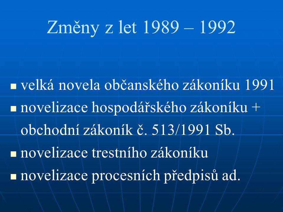 Změny z let 1989 – 1992 velká novela občanského zákoníku 1991 novelizace hospodářského zákoníku + obchodní zákoník č.