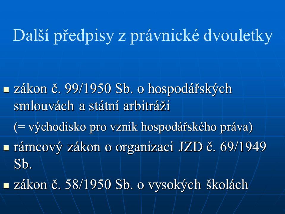 Další předpisy z právnické dvouletky zákon č. 99/1950 Sb.