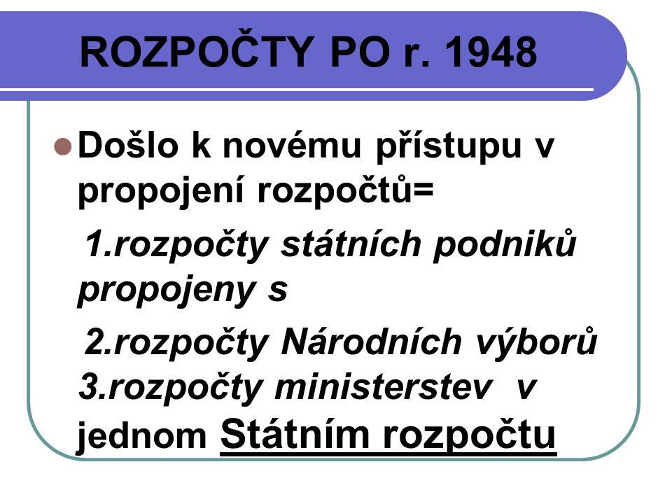 ROZPOČTY PO r. 1948 Došlo k novému přístupu v propojení rozpočtů= 1.rozpočty státních podniků propojeny s 2.rozpočty Národních výborů 3.rozpočty minis