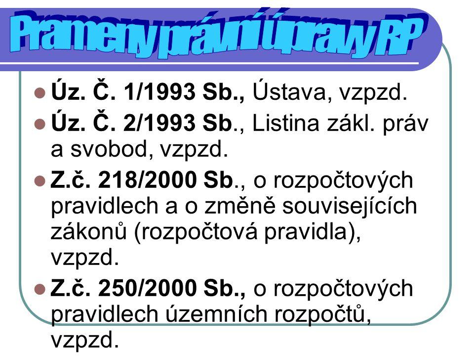Úz. Č. 1/1993 Sb., Ústava, vzpzd. Úz. Č. 2/1993 Sb., Listina zákl. práv a svobod, vzpzd. Z.č. 218/2000 Sb., o rozpočtových pravidlech a o změně souvis