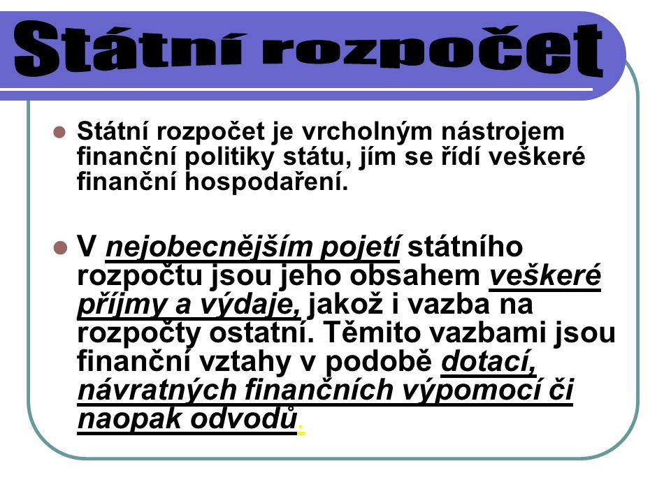 Státní rozpočet je vrcholným nástrojem finanční politiky státu, jím se řídí veškeré finanční hospodaření. V nejobecnějším pojetí státního rozpočtu jso