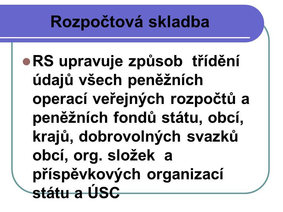 Rozpočtová skladba RS upravuje způsob třídění údajů všech peněžních operací veřejných rozpočtů a peněžních fondů státu, obcí, krajů, dobrovolných svaz
