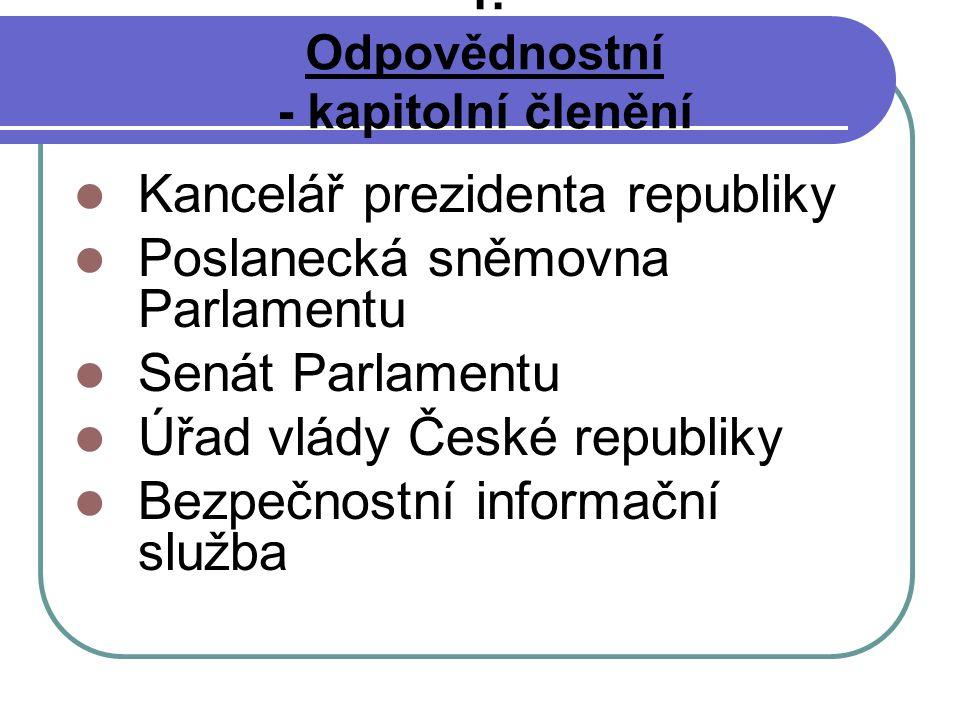 1. Odpovědnostní - kapitolní členění Kancelář prezidenta republiky Poslanecká sněmovna Parlamentu Senát Parlamentu Úřad vlády České republiky Bezpečno