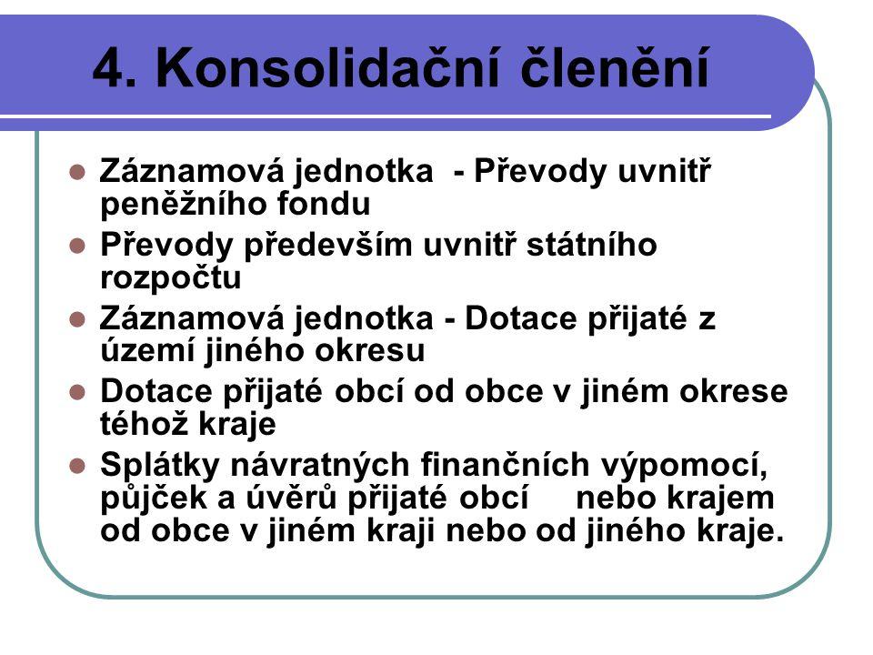 4. Konsolidační členění Záznamová jednotka - Převody uvnitř peněžního fondu Převody především uvnitř státního rozpočtu Záznamová jednotka - Dotace při
