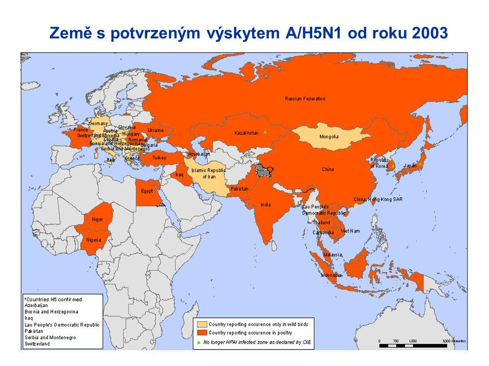 Země s potvrzeným výskytem A/H5N1 od roku 2003