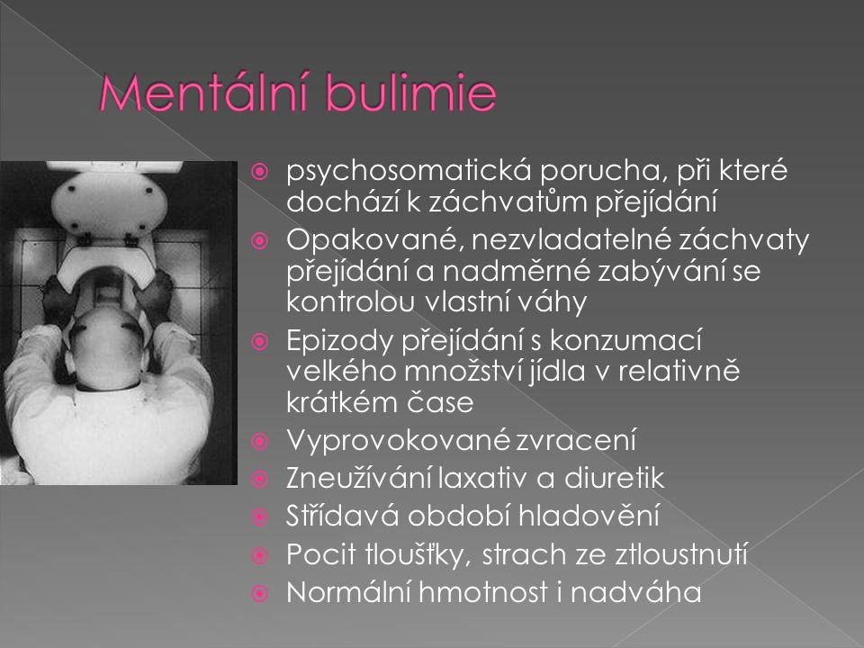  psychosomatická porucha, při které dochází k záchvatům přejídání  Opakované, nezvladatelné záchvaty přejídání a nadměrné zabývání se kontrolou vlas