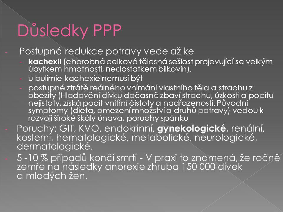 - Postupná redukce potravy vede až ke - kachexii (chorobná celková tělesná sešlost projevující se velkým úbytkem hmotnosti, nedostatkem bílkovin), - u