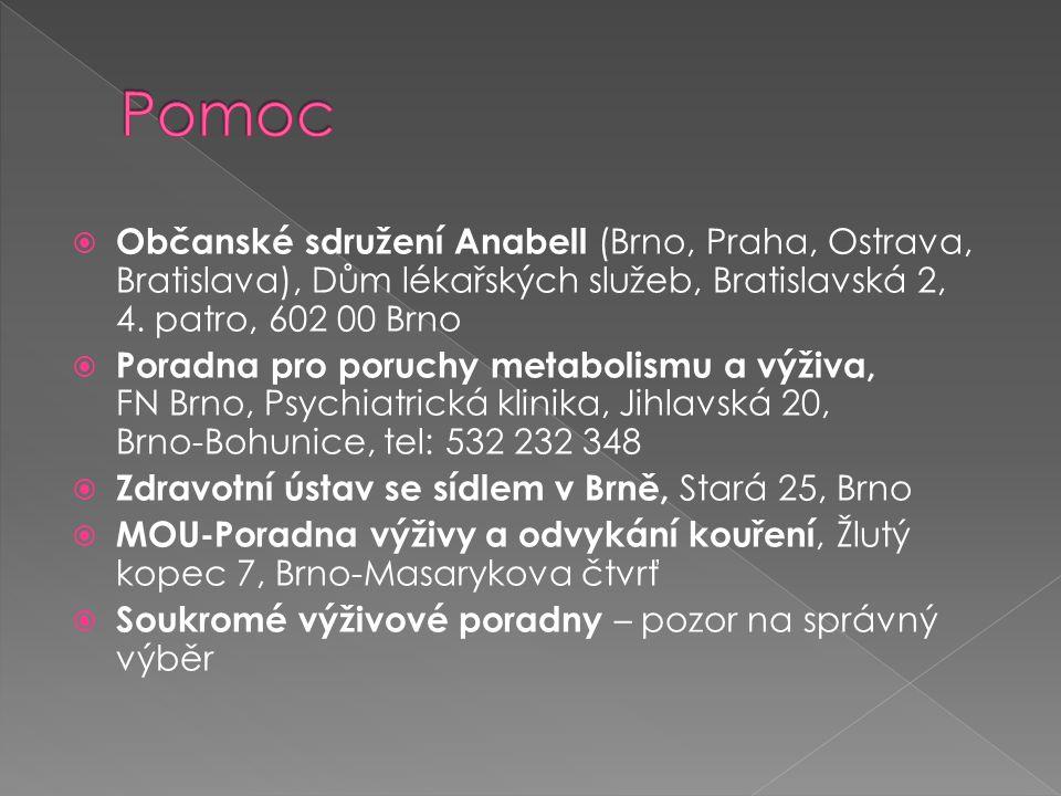 Občanské sdružení Anabell (Brno, Praha, Ostrava, Bratislava), Dům lékařských služeb, Bratislavská 2, 4. patro, 602 00 Brno  Poradna pro poruchy met