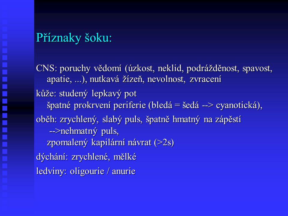 Příznaky šoku: CNS: poruchy vědomí (úzkost, neklid, podrážděnost, spavost, apatie,...), nutkavá žízeň, nevolnost, zvracení kůže: studený lepkavý pot špatné prokrvení periferie (bledá = šedá --> cyanotická), oběh: zrychlený, slabý puls, špatně hmatný na zápěstí -->nehmatný puls, zpomalený kapilární návrat (>2s) dýchání: zrychlené, mělké ledviny: oligourie / anurie
