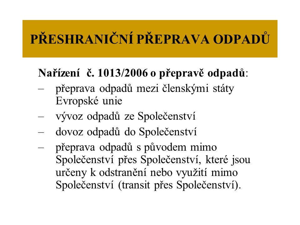 PŘESHRANIČNÍ PŘEPRAVA ODPADŮ Nařízení č.