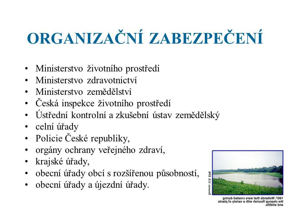 ORGANIZAČNÍ ZABEZPEČENÍ Ministerstvo životního prostředí Ministerstvo zdravotnictví Ministerstvo zemědělství Česká inspekce životního prostředí Ústřed