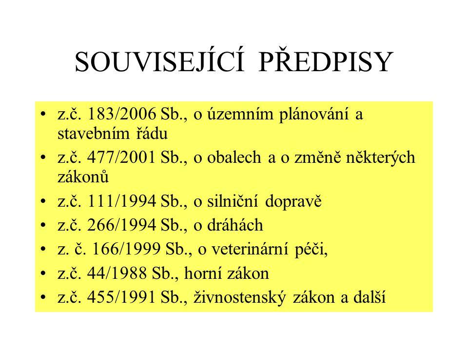 SOUVISEJÍCÍ PŘEDPISY z.č. 183/2006 Sb., o územním plánování a stavebním řádu z.č. 477/2001 Sb., o obalech a o změně některých zákonů z.č. 111/1994 Sb.