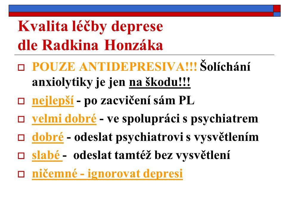 Kvalita léčby deprese dle Radkina Honzáka  POUZE ANTIDEPRESIVA!!! Šolíchání anxiolytiky je jen na škodu!!!  nejlepší - po zacvičení sám PL  velmi d
