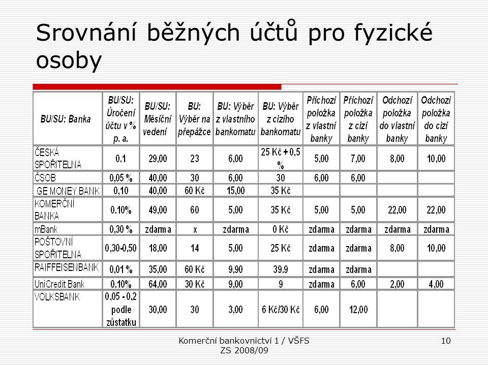 Komerční bankovnictví 1 / VŠFS ZS 2008/09 10 Srovnání běžných účtů pro fyzické osoby
