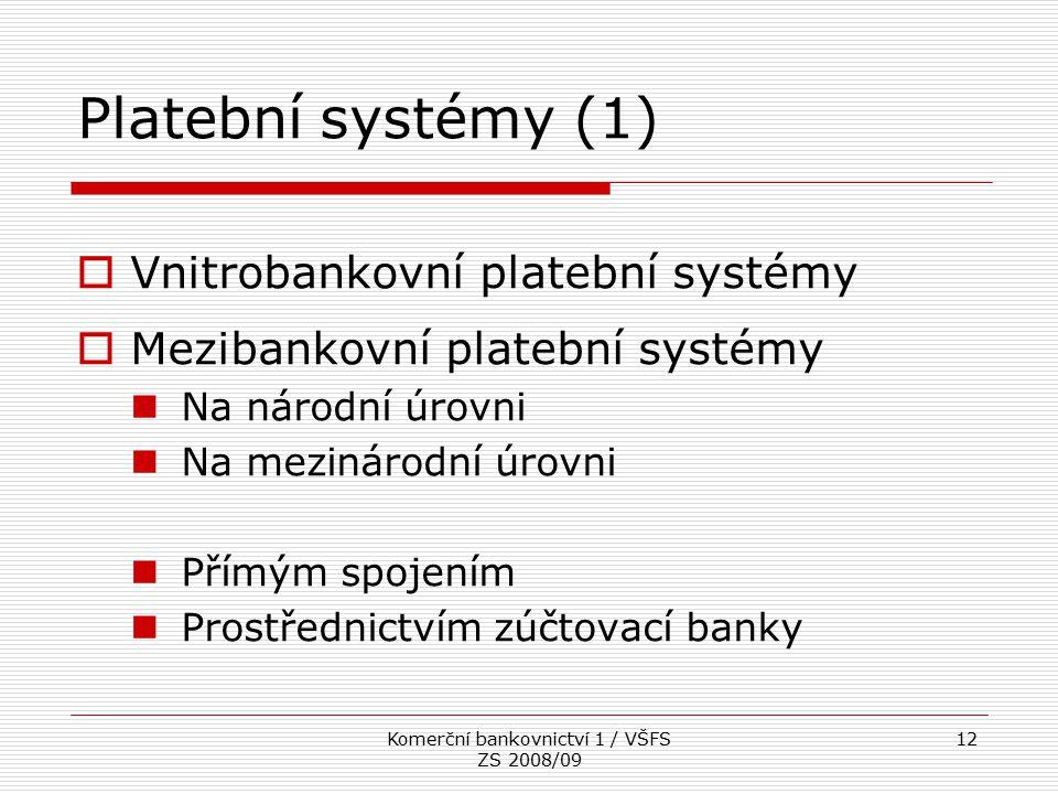 Komerční bankovnictví 1 / VŠFS ZS 2008/09 12 Platební systémy (1)  Vnitrobankovní platební systémy  Mezibankovní platební systémy Na národní úrovni