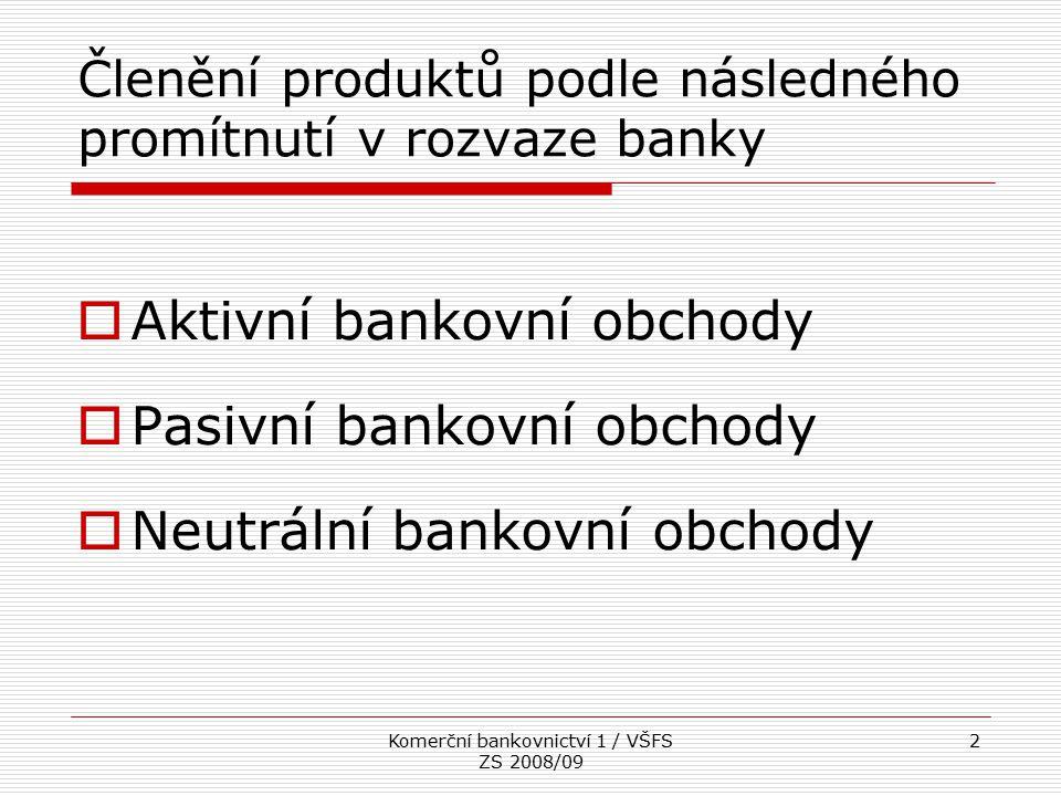 Komerční bankovnictví 1 / VŠFS ZS 2008/09 2 Členění produktů podle následného promítnutí v rozvaze banky  Aktivní bankovní obchody  Pasivní bankovní