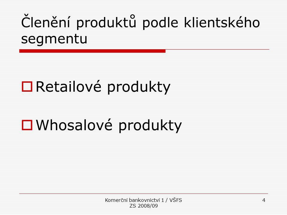 Komerční bankovnictví 1 / VŠFS ZS 2008/09 4 Členění produktů podle klientského segmentu  Retailové produkty  Whosalové produkty