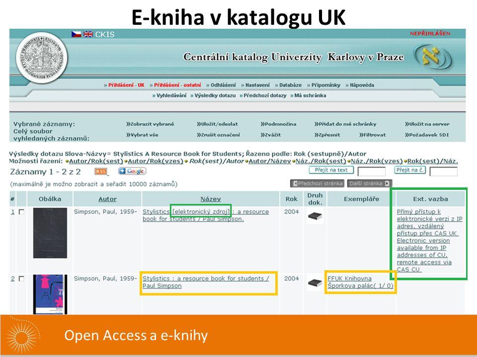 E-kniha v katalogu UK Open Access a e-knihy