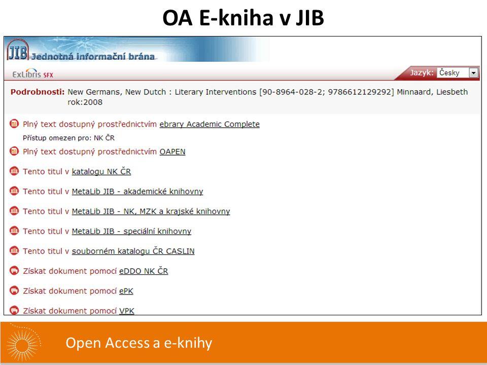 OA E-kniha v JIB Open Access a e-knihy