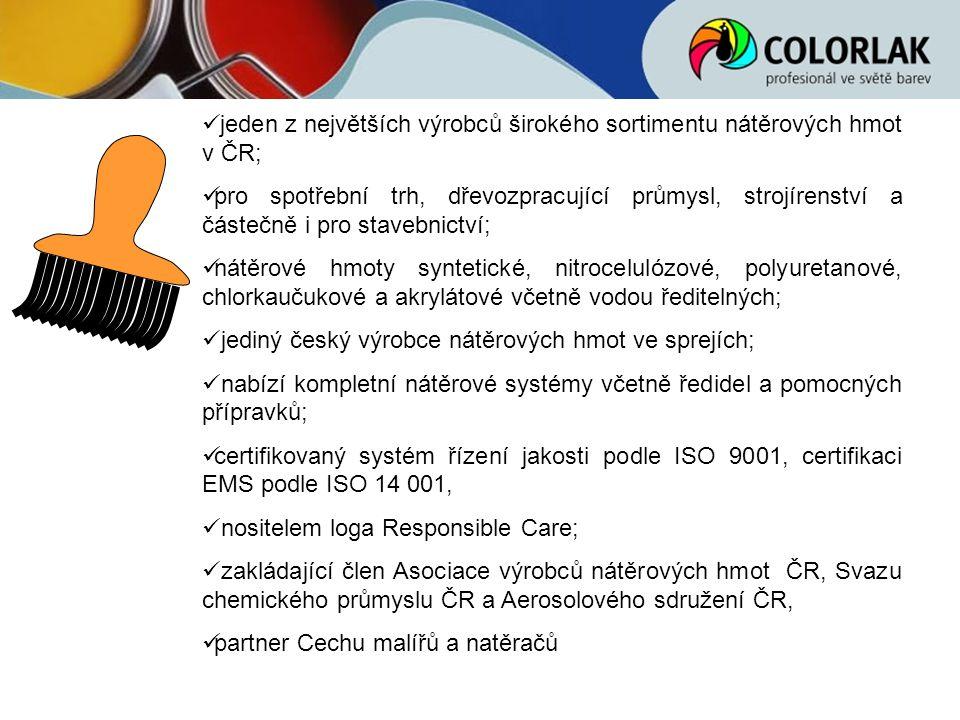 jeden z největších výrobců širokého sortimentu nátěrových hmot v ČR; pro spotřební trh, dřevozpracující průmysl, strojírenství a částečně i pro staveb