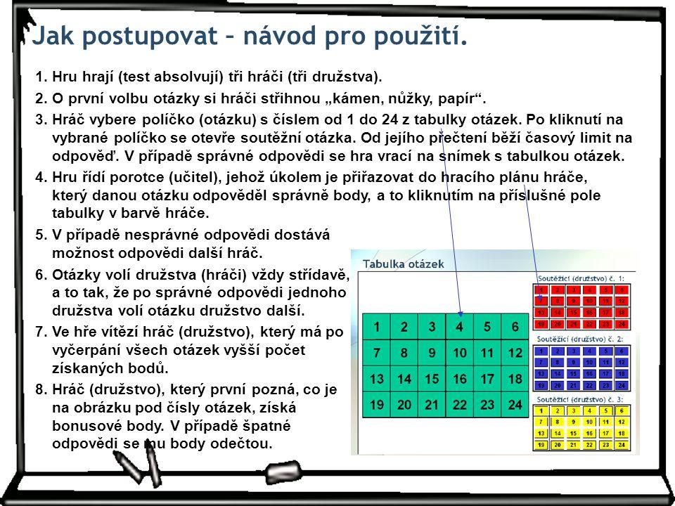 Jak postupovat – návod pro použití. 1. Hru hrají (test absolvují) tři hráči (tři družstva).