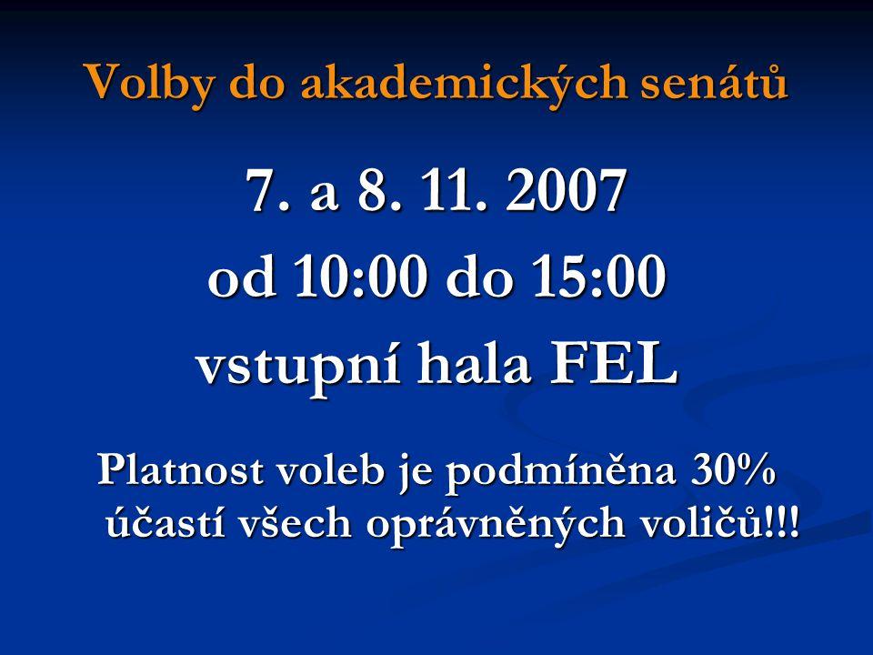 Volby do akademických senátů 7. a 8. 11.