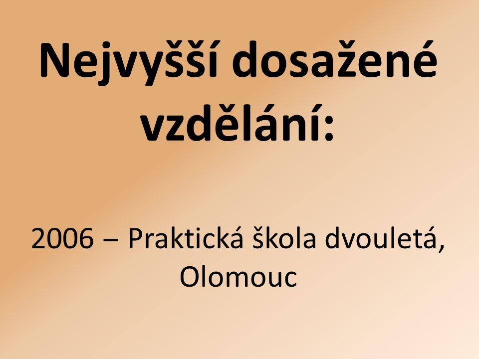 Nejvyšší dosažené vzdělání: 2006 ‒ Praktická škola dvouletá, Olomouc