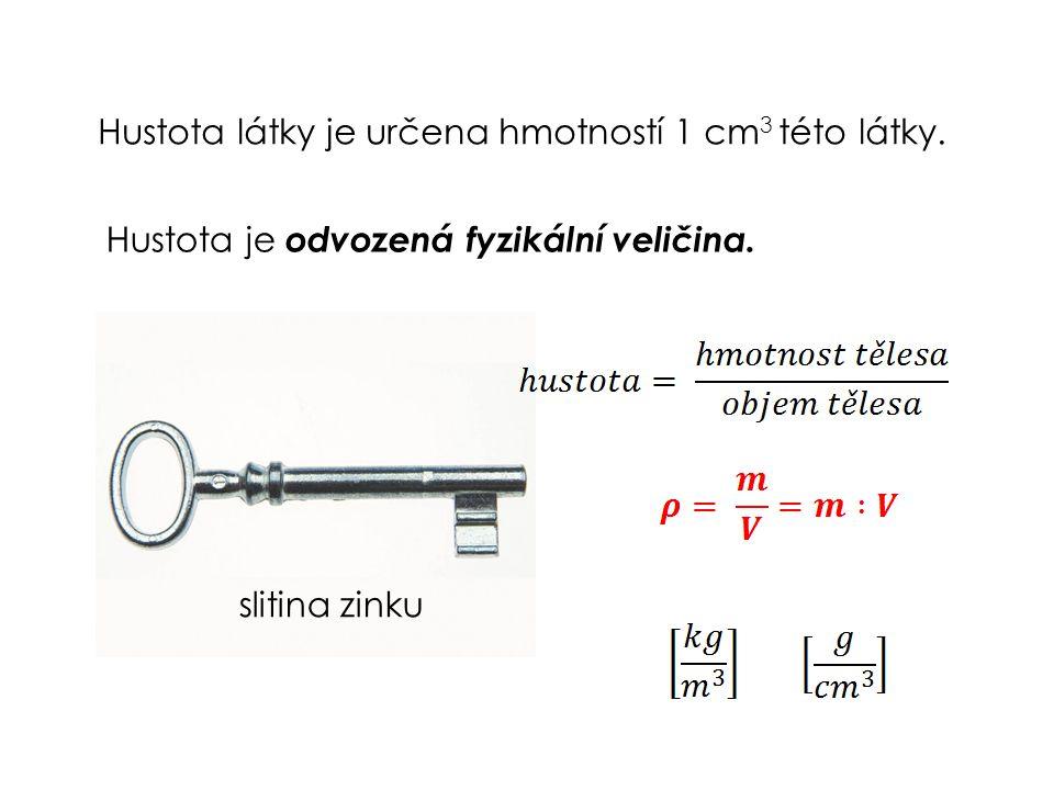 Hustota látky je určena hmotností 1 cm 3 této látky. Hustota je odvozená fyzikální veličina. slitina zinku