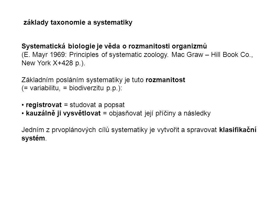základy taxonomie a systematiky Systematická biologie je věda o rozmanitosti organizmů (E. Mayr 1969: Principles of systematic zoology. Mac Graw – Hil
