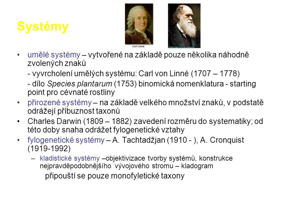 Systémy umělé systémy – vytvořené na základě pouze několika náhodně zvolených znaků - vyvrcholení umělých systému: Carl von Linné (1707 – 1778) - dílo