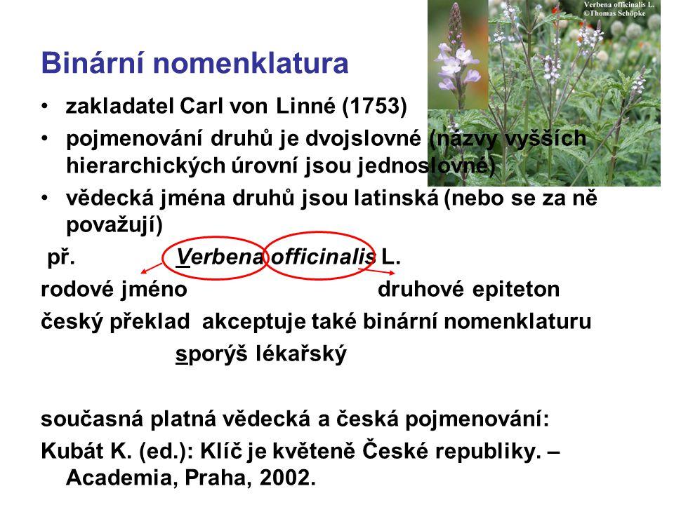 Binární nomenklatura zakladatel Carl von Linné (1753) pojmenování druhů je dvojslovné (názvy vyšších hierarchických úrovní jsou jednoslovné) vědecká j