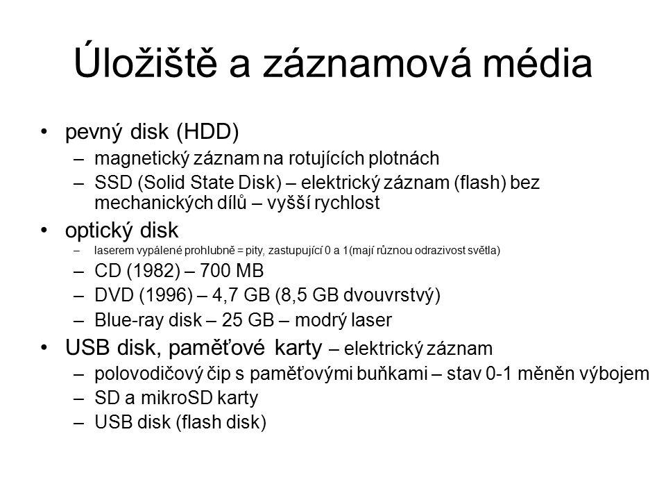 Úložiště a záznamová média pevný disk (HDD) –magnetický záznam na rotujících plotnách –SSD (Solid State Disk) – elektrický záznam (flash) bez mechanic