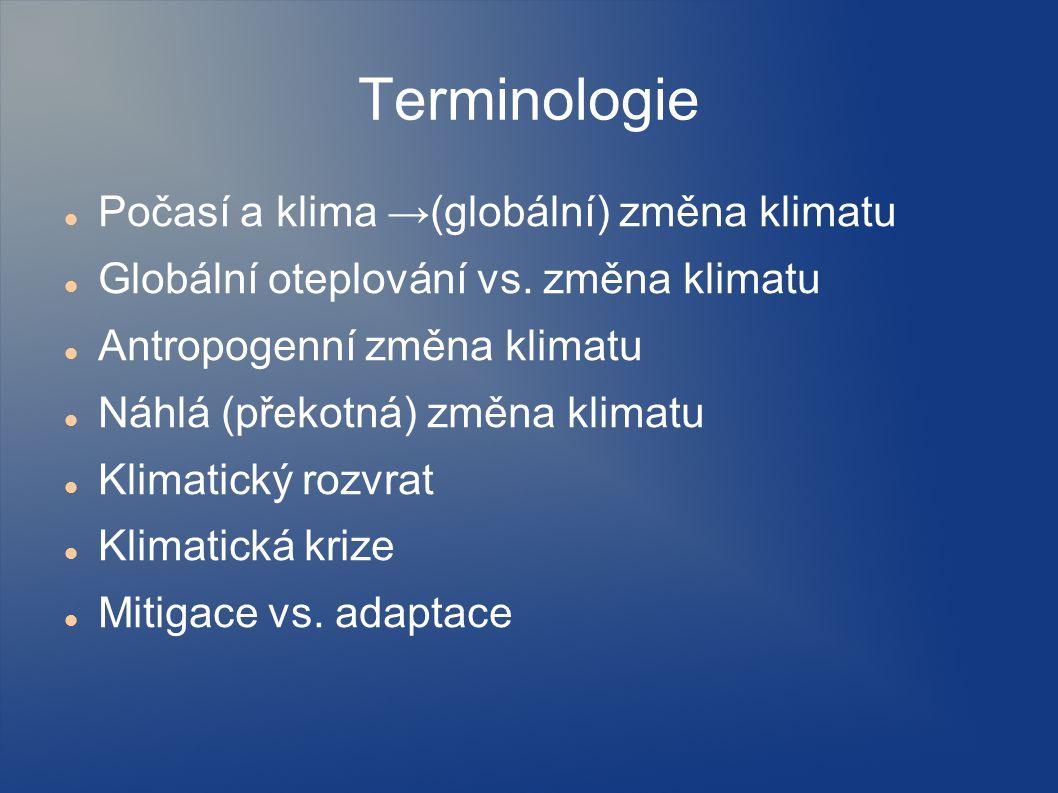 Terminologie Počasí a klima →(globální) změna klimatu Globální oteplování vs. změna klimatu Antropogenní změna klimatu Náhlá (překotná) změna klimatu