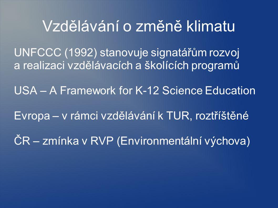 Vzdělávání o změně klimatu UNFCCC (1992) stanovuje signatářům rozvoj a realizaci vzdělávacích a školících programů USA – A Framework for K-12 Science