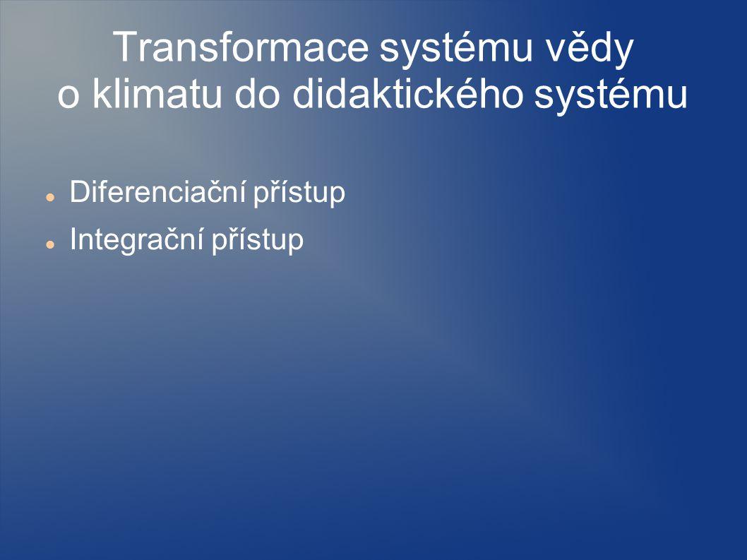 Transformace systému vědy o klimatu do didaktického systému Diferenciační přístup Integrační přístup