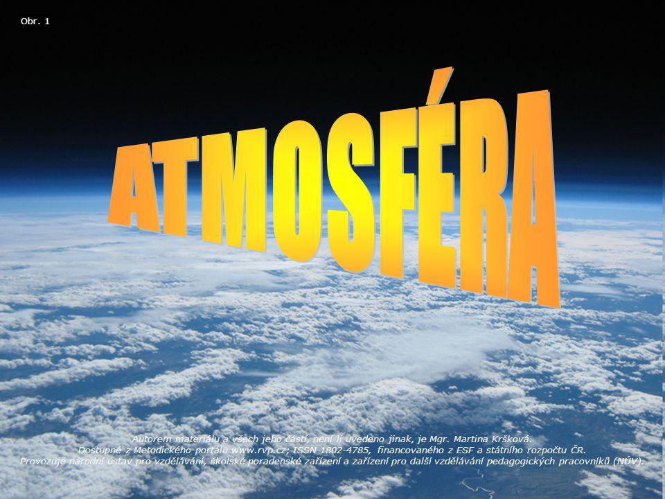 = souvislý plynný obal Země Atmosféra nemá jednoznačnou vrchní hranici, plynule řídne a přechází do vesmíru.