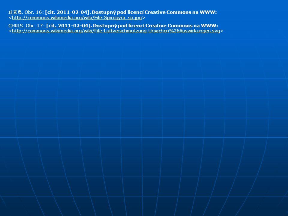 珪素鳥. Obr. 16: [cit. 2011-02-04]. Dostupný pod licencí Creative Commons na WWW: http://commons.wikimedia.org/wiki/File:Spirogyra_sp.jpg CHRIS. Obr. 17: