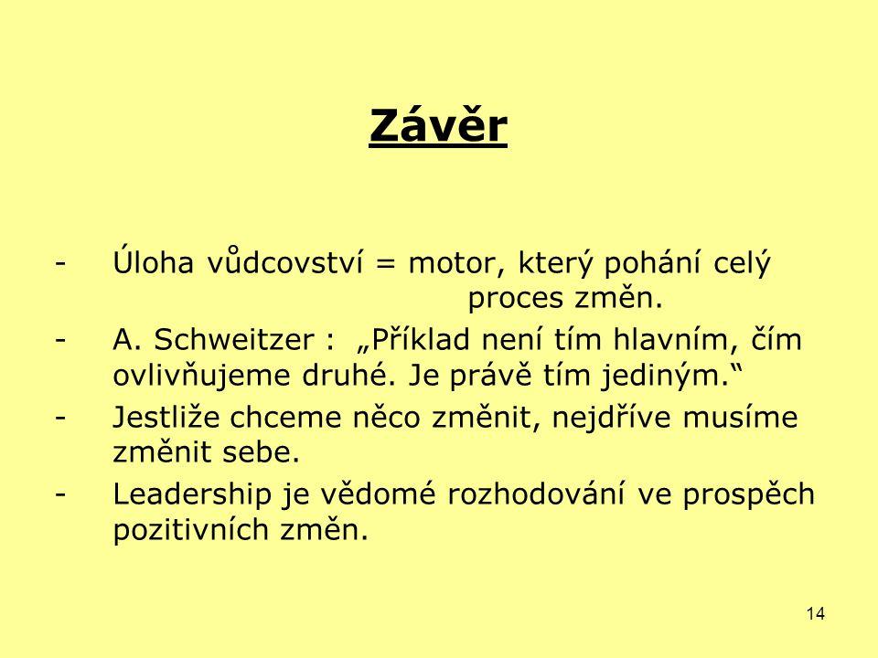 14 Závěr -Úloha vůdcovství = motor, který pohání celý proces změn.