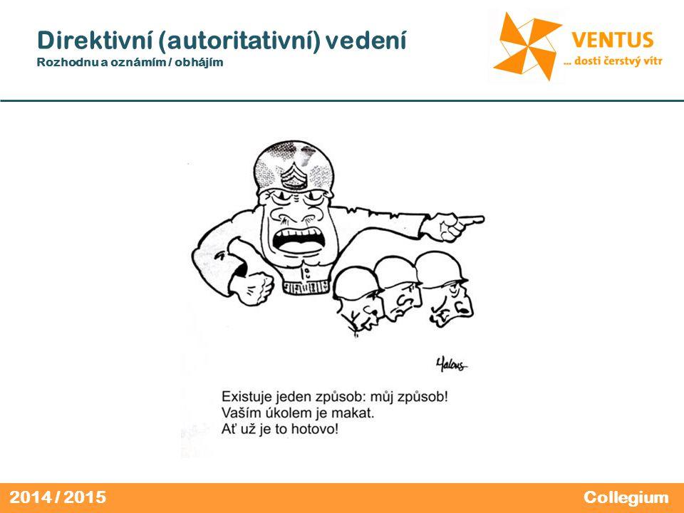 2014 / 2015 Direktivní (autoritativní) vedení Rozhodnu a oznámím / obhájím Collegium